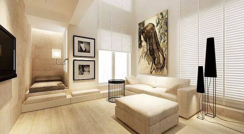 Living Room With Cream Century Sofa And Beautiful Painting by HOC Designarch Living-room Contemporary | Interior Design Photos & Ideas