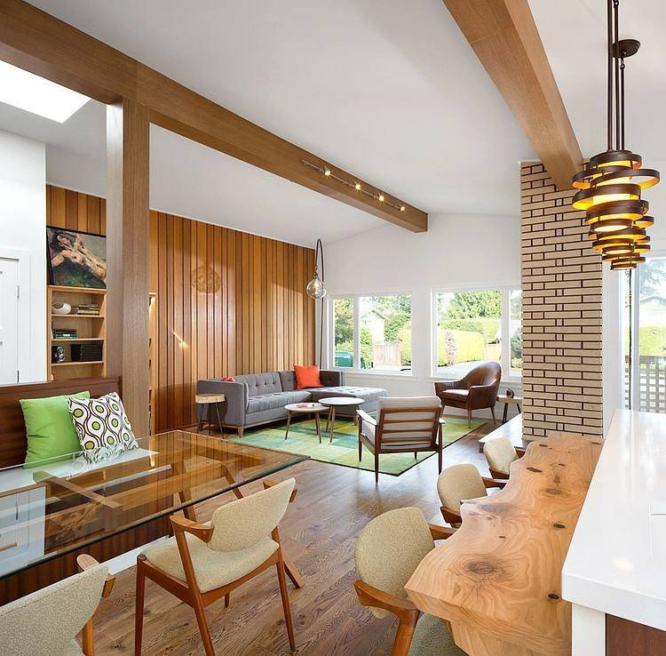 Living Room With Wooden Planks And Brick Wall by HOC Designarch Living-room Contemporary | Interior Design Photos & Ideas