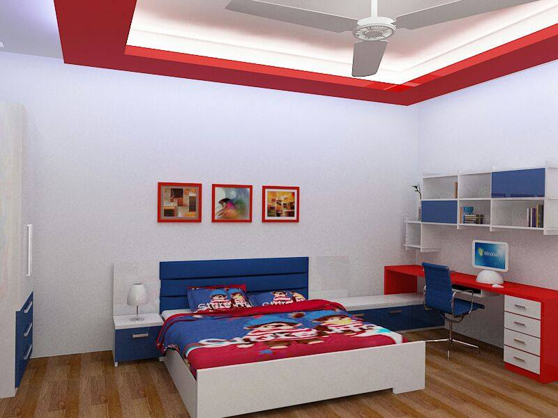 Kid's Bedroom With Blue And Red Wooden Work by HOC Designarch Bedroom Contemporary | Interior Design Photos & Ideas