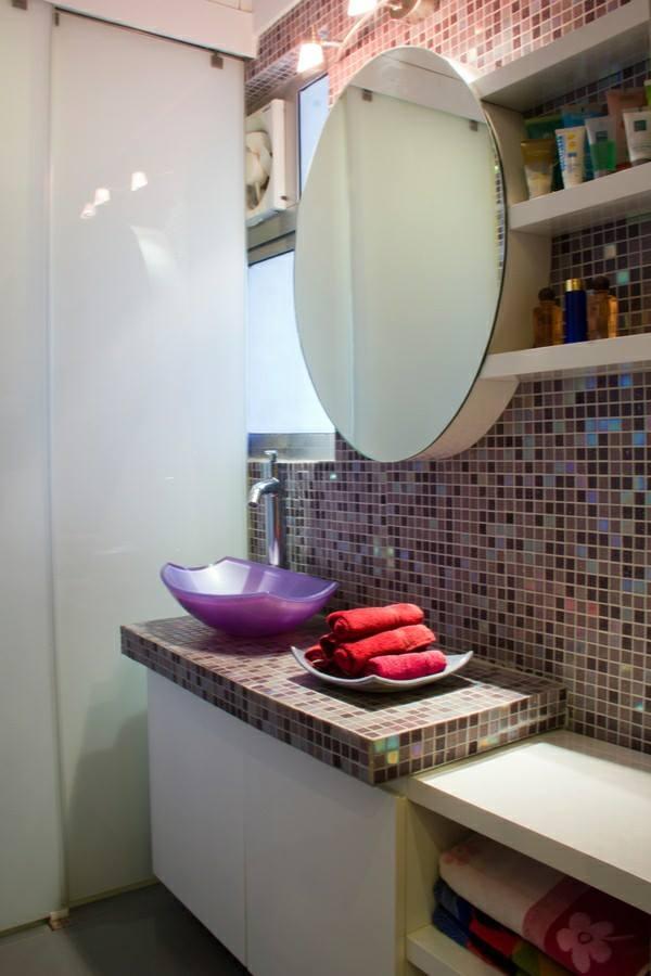 Bathroom With Round Mirror by HOC Designarch Bathroom Contemporary | Interior Design Photos & Ideas
