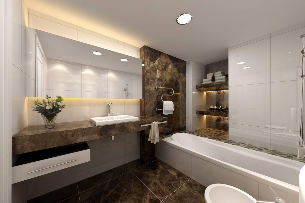 Bathroom With Dark Walnut Tiles by HOC Designarch Bathroom Modern | Interior Design Photos & Ideas