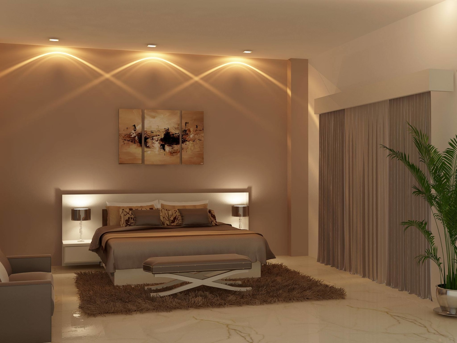 Cream Themed Bedroom With Brown Soft Carpet by HOC Designarch Bedroom Contemporary | Interior Design Photos & Ideas