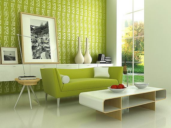 Olive Green Living Room With Green Mid Century Sofa by HOC Designarch Living-room Contemporary | Interior Design Photos & Ideas