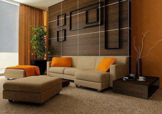 Living Room With Brown Sectional Sofas And Black Geometrical Wooden Designs by HOC Designarch Living-room Contemporary | Interior Design Photos & Ideas