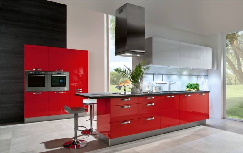 Red Open Modular Kitchen by HOC Designarch Modular-kitchen Contemporary | Interior Design Photos & Ideas