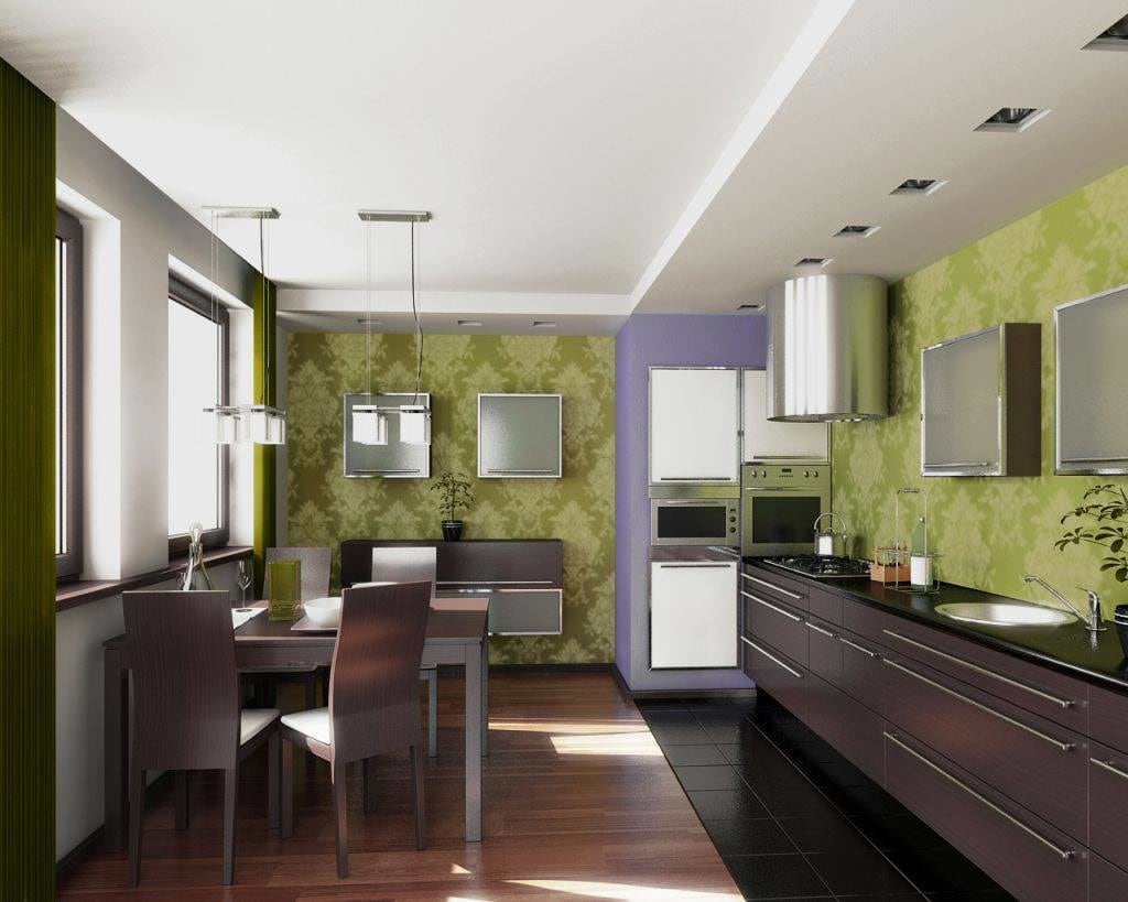 Modular Kitchen With Olive Green Patterned Tiles by HOC Designarch Modular-kitchen Contemporary | Interior Design Photos & Ideas