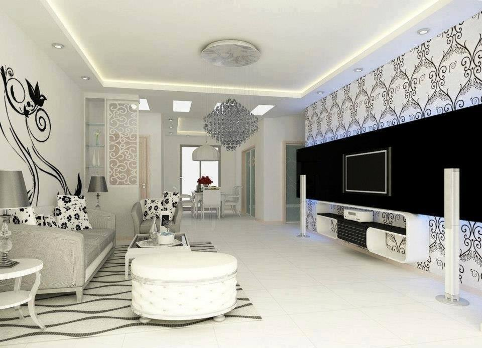 Black And White Themed Living Room With Crystal Chandelier by HOC Designarch Living-room Contemporary | Interior Design Photos & Ideas