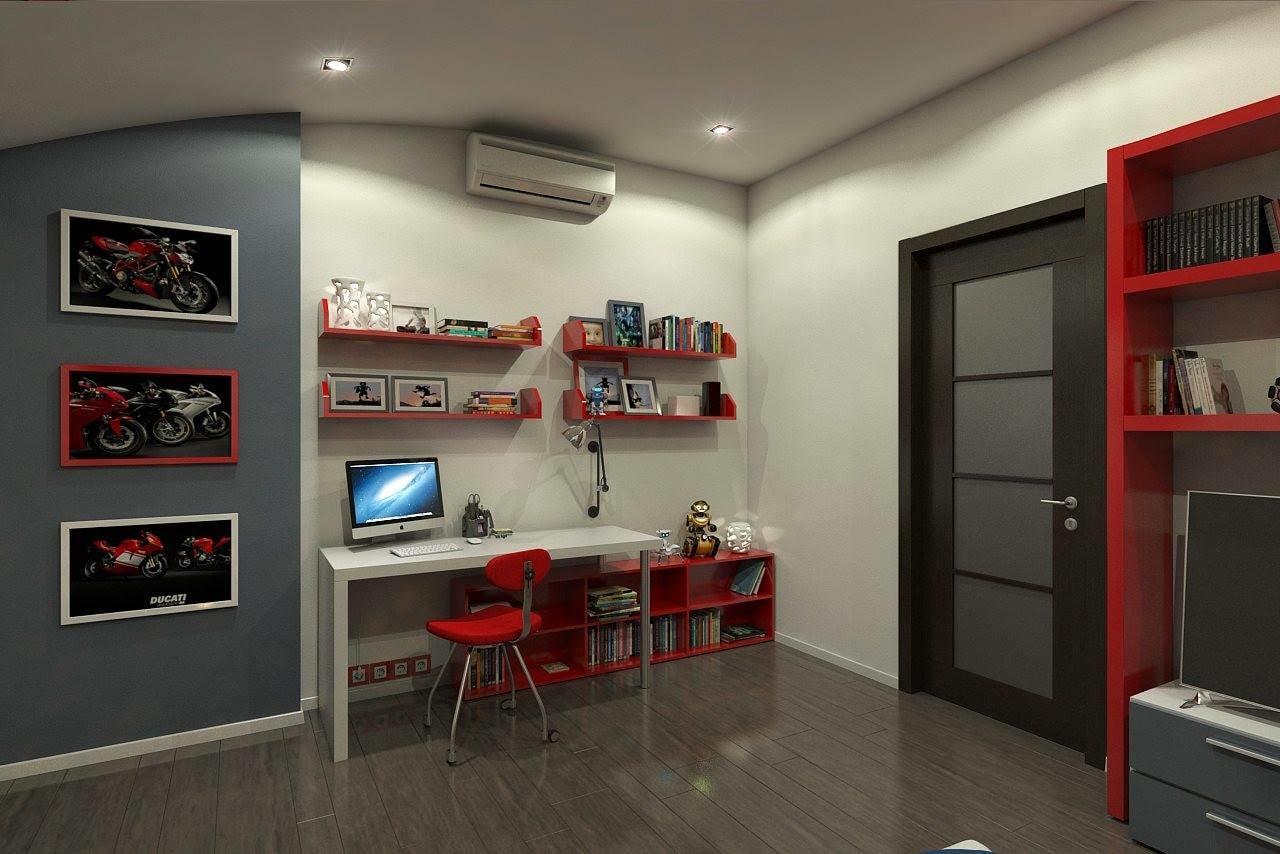 Study Table With Dark Wooden Flooring by HOC Designarch Bedroom Contemporary | Interior Design Photos & Ideas