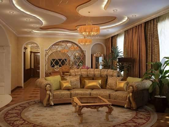 Living Room With Traditional Golden Sofa by HOC Designarch Living-room Traditional | Interior Design Photos & Ideas