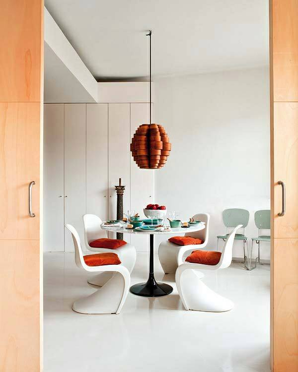 Dining Room With Beautifully Crafted Chairs And Wooden Hanging by HOC Designarch Dining-room Contemporary   Interior Design Photos & Ideas