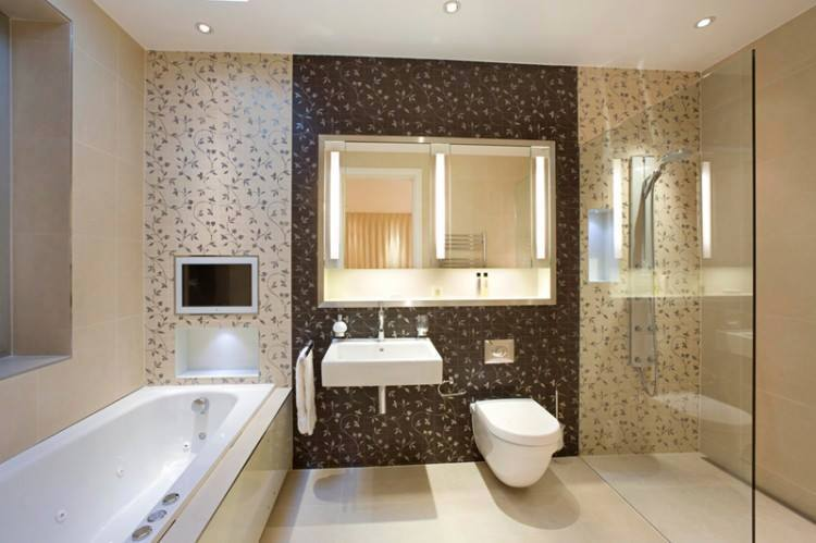 Bathroom With Floral Patterned Wall And Glass Shower Enclosure by HOC Designarch Bathroom Contemporary | Interior Design Photos & Ideas