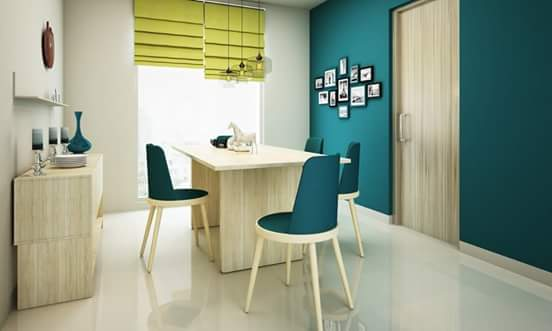 Dining Table Simple Blue Wooden Cushioned Chair by HOC Designarch Dining-room Contemporary | Interior Design Photos & Ideas