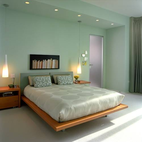 Low Rise Wooden Bed With Hanging Lamps by HOC Designarch Bedroom Minimalistic | Interior Design Photos & Ideas