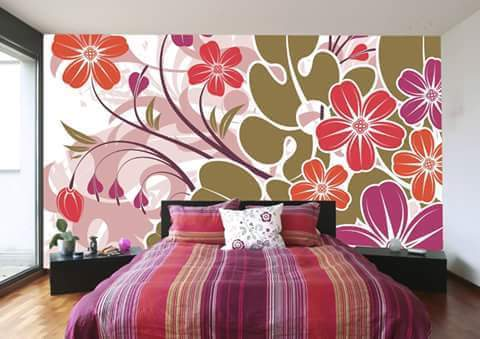 Bedroom With Floral Printed Wall by HOC Designarch Bedroom Contemporary | Interior Design Photos & Ideas