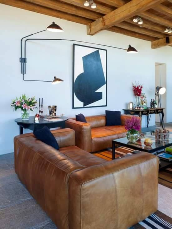 Brown Leather Sofas With Wooden Ceiling by HOC Designarch Living-room Contemporary | Interior Design Photos & Ideas