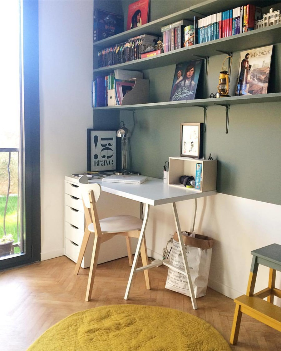 Study Table With White Wooden Cushioned Chair by HOC Designarch Bedroom Contemporary | Interior Design Photos & Ideas