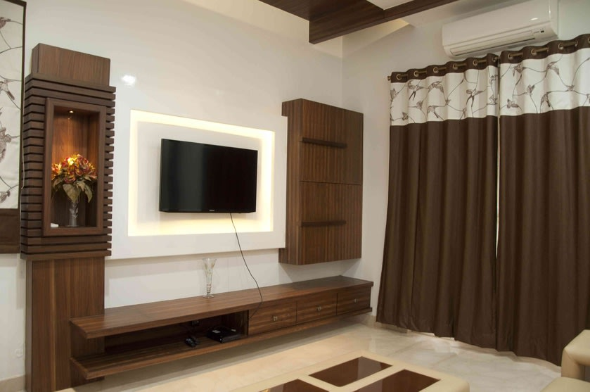 Modern Living Room With Wooden Furnishings by Swastik Interiors Living-room Modern | Interior Design Photos & Ideas