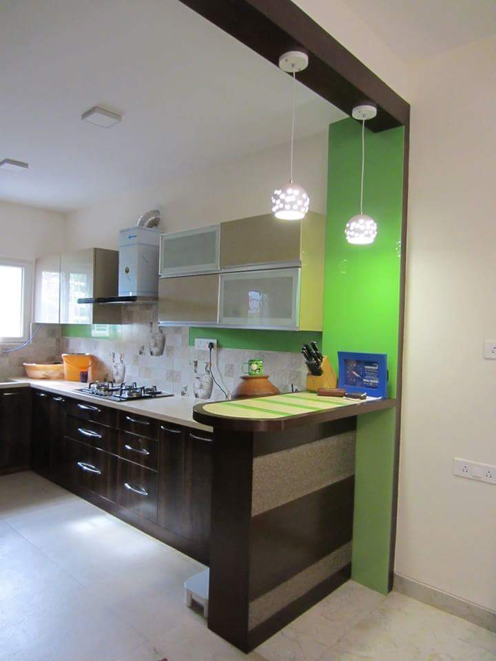 green open kitchen by Richa Jatale Modern | Interior Design Photos & Ideas