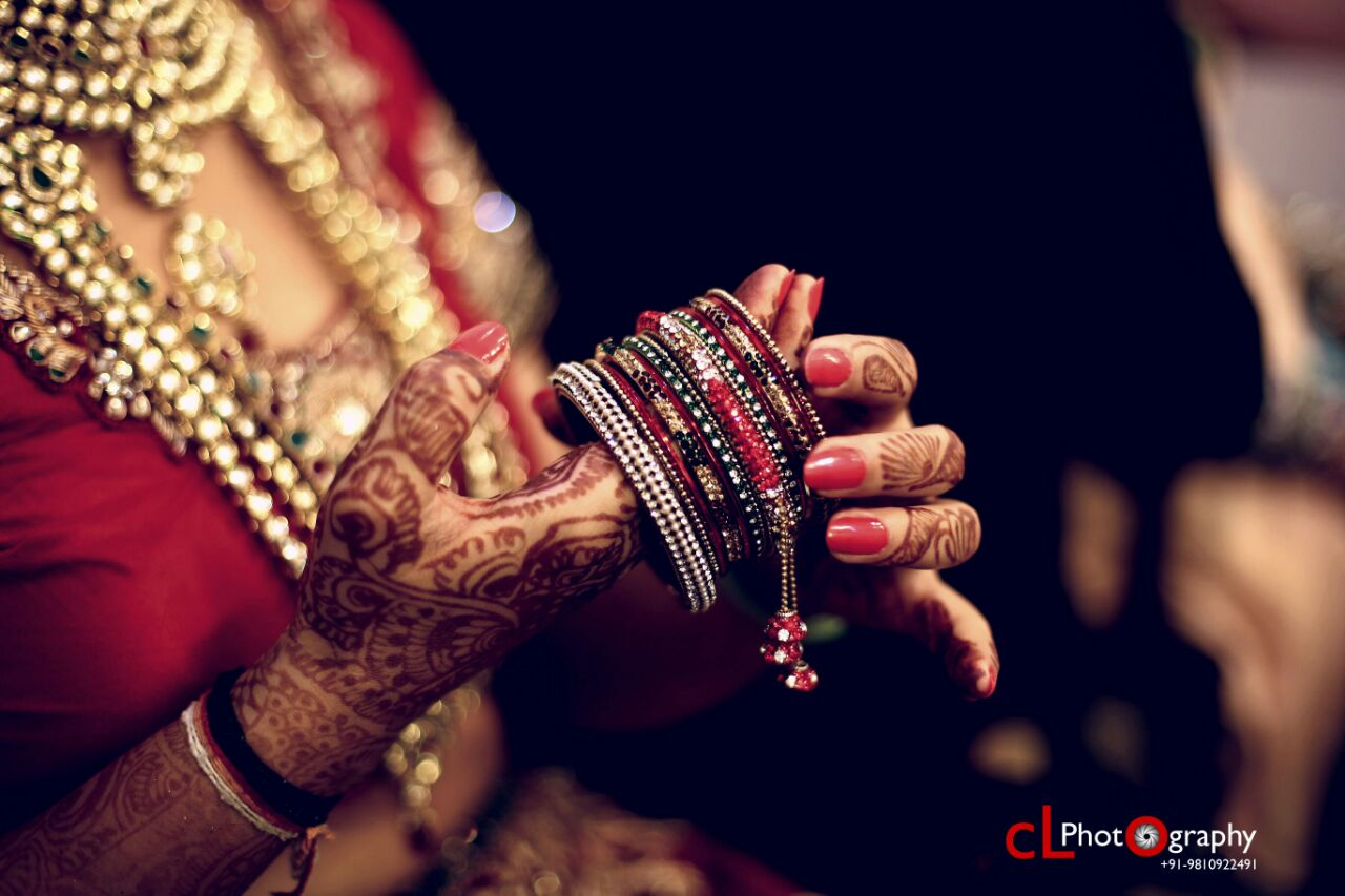 Red Bridal Bangles With Multi-Colored Stones And Small Danglers by CL Photography Bridal-jewellery-and-accessories | Weddings Photos & Ideas