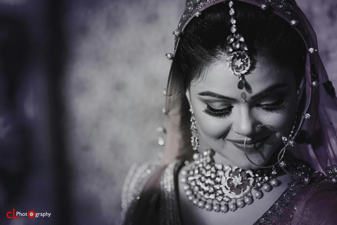 Black  And White Shot Of Bride Featuring Her Exquisite Kundan And PolkiJewellery by CL Photography Wedding-photography | Weddings Photos & Ideas