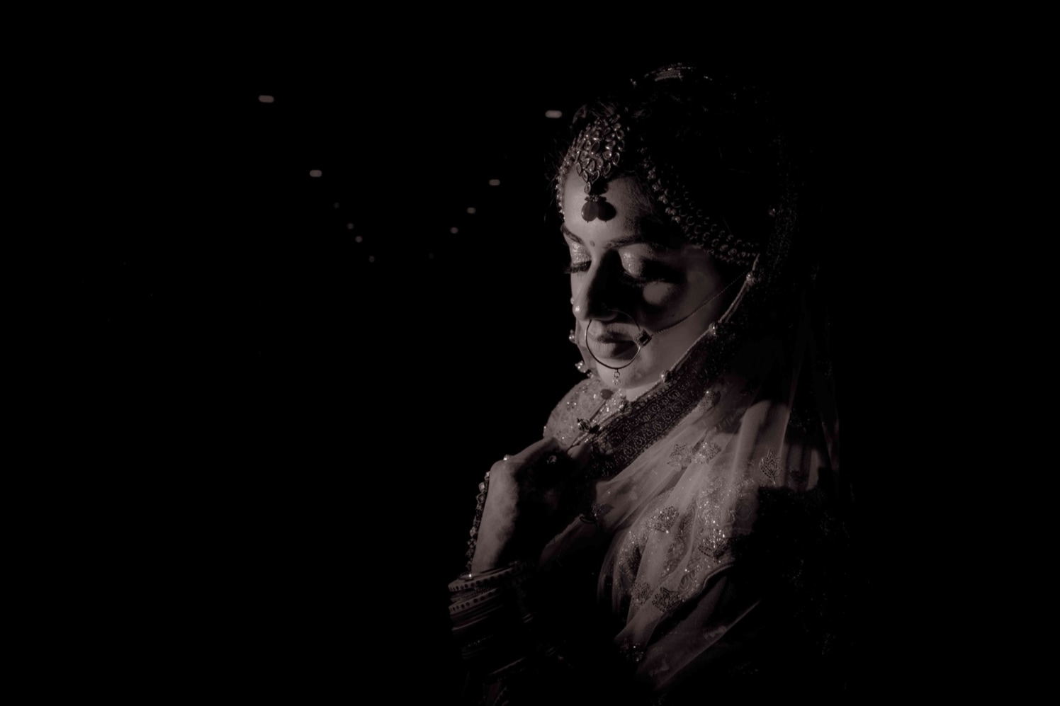 Black And White Bride Portrait by Gitesh Dhawan Wedding-photography | Weddings Photos & Ideas