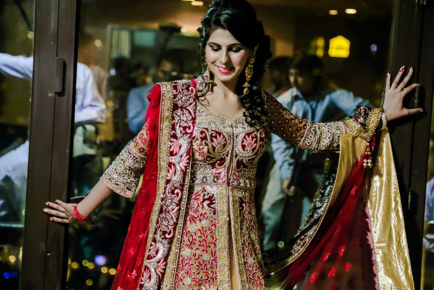 Gold And Maroon Indo-Western Dress by Gitesh Dhawan Wedding-photography Wedding-dresses | Weddings Photos & Ideas