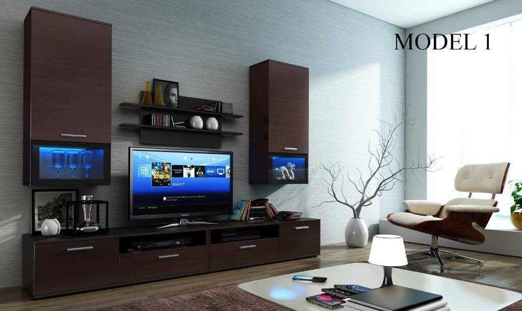 Living Room With Dark Wood TV Cabinet by Dhi Design Studio Living-room Modern | Interior Design Photos & Ideas