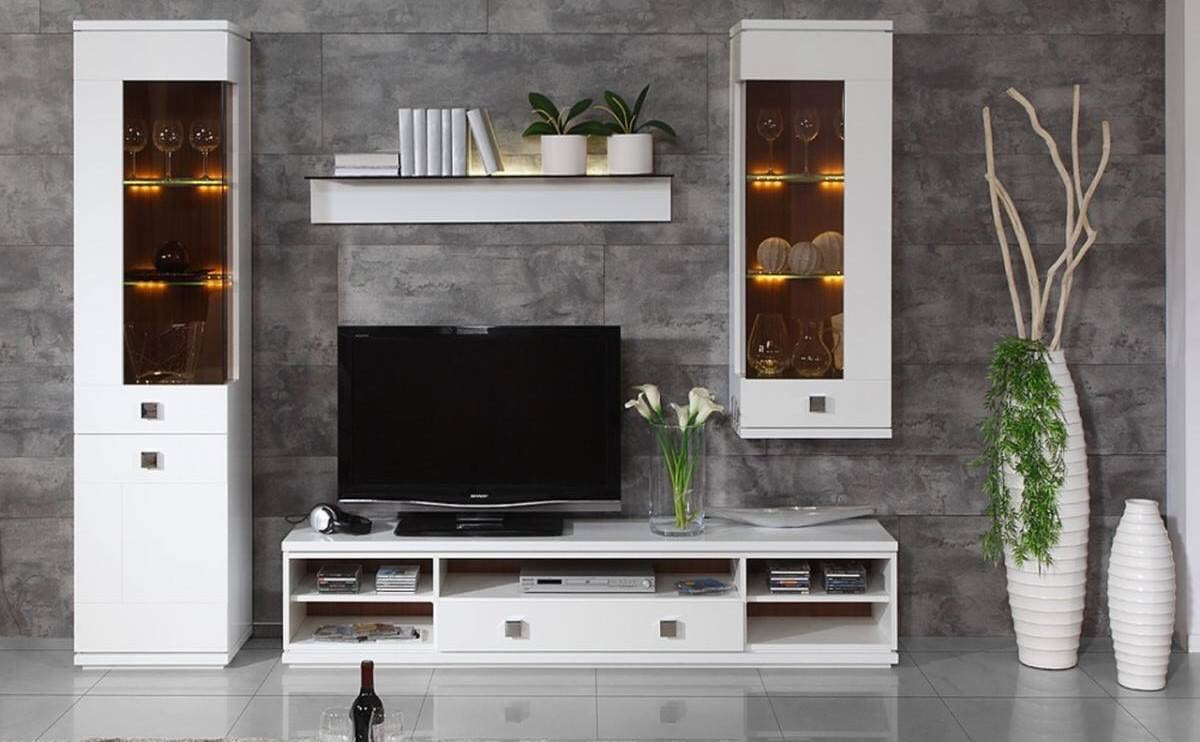 Living Room With White Cabinet And Vase Decor by Dhi Design Studio Living-room Modern | Interior Design Photos & Ideas