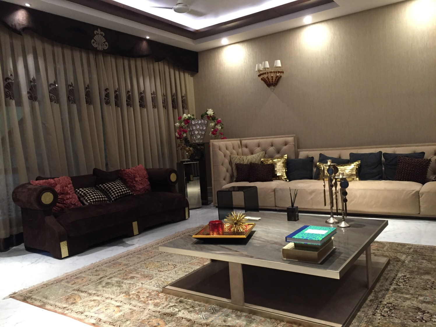 Beige themed Traditional Living Room With Sectional Sofa by Tarique Anwar Living-room Traditional | Interior Design Photos & Ideas