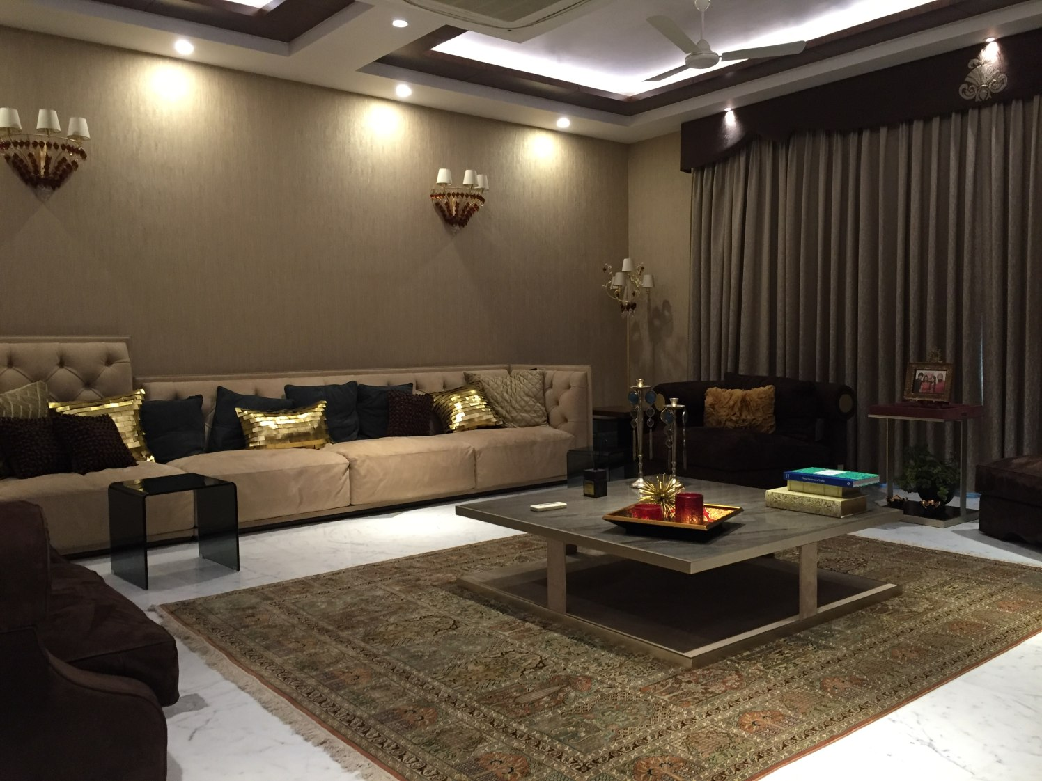 Brown Theme Living Room by Tarique Anwar Living-room Contemporary | Interior Design Photos & Ideas