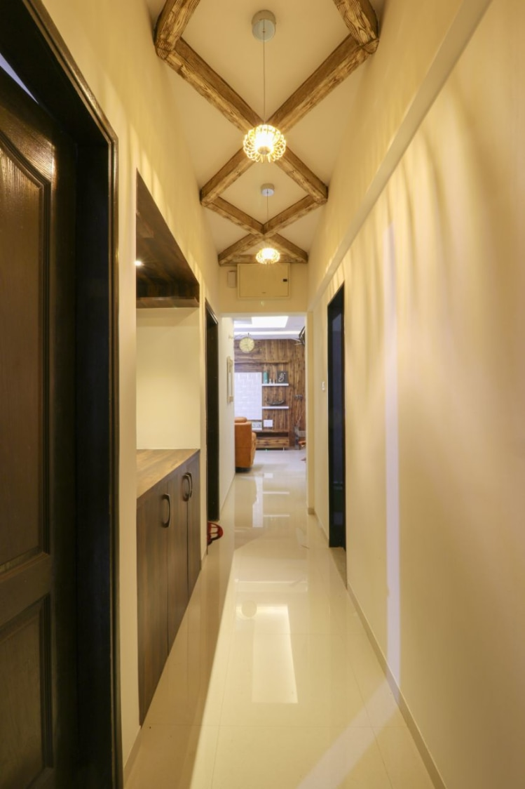 Hallway With Wooden Work And Pendant  Light by Wood Works Club Indoor-spaces Contemporary | Interior Design Photos & Ideas