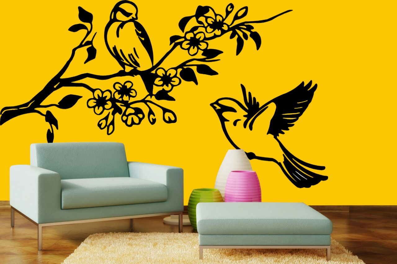 Artistic Sitting Area with Blue Lounge Chair And Bird Wall Art by Wood Works Club Living-room Contemporary | Interior Design Photos & Ideas