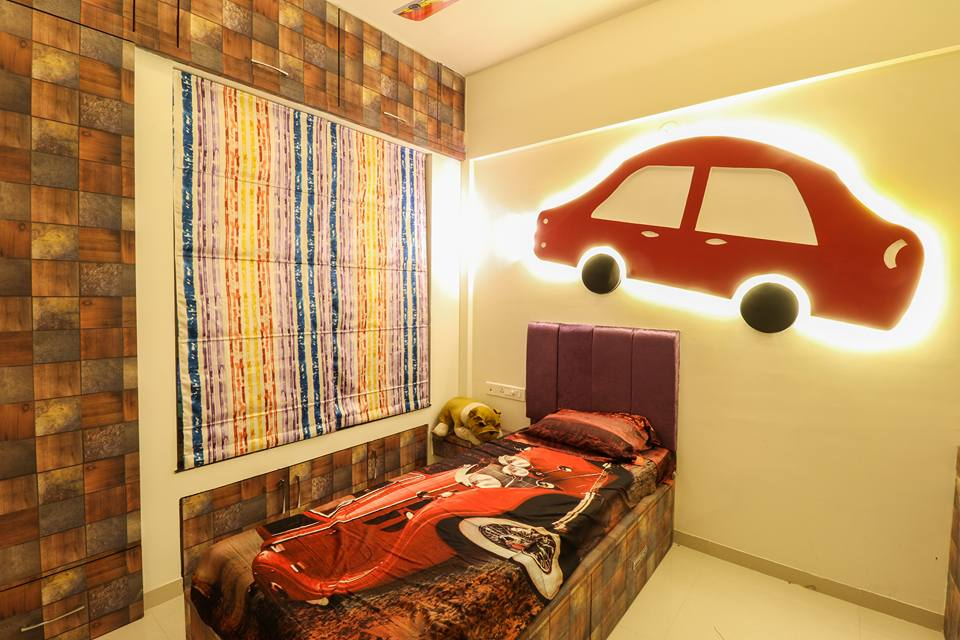 Kids Bedroom with Interactive Wall Art and Single Bed by Wood Works Club Bedroom Modern | Interior Design Photos & Ideas
