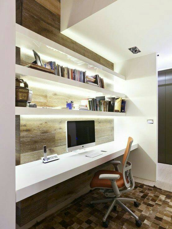 Elegant Study Room with White Wooden Table And Orange Chair by Wood Works Club Indoor-spaces Modern | Interior Design Photos & Ideas