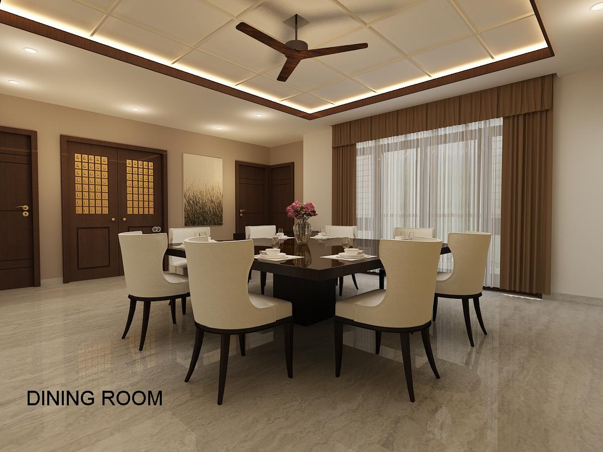 Dining Room With Plush Chairs by Varsha S Rao Dining-room Contemporary | Interior Design Photos & Ideas
