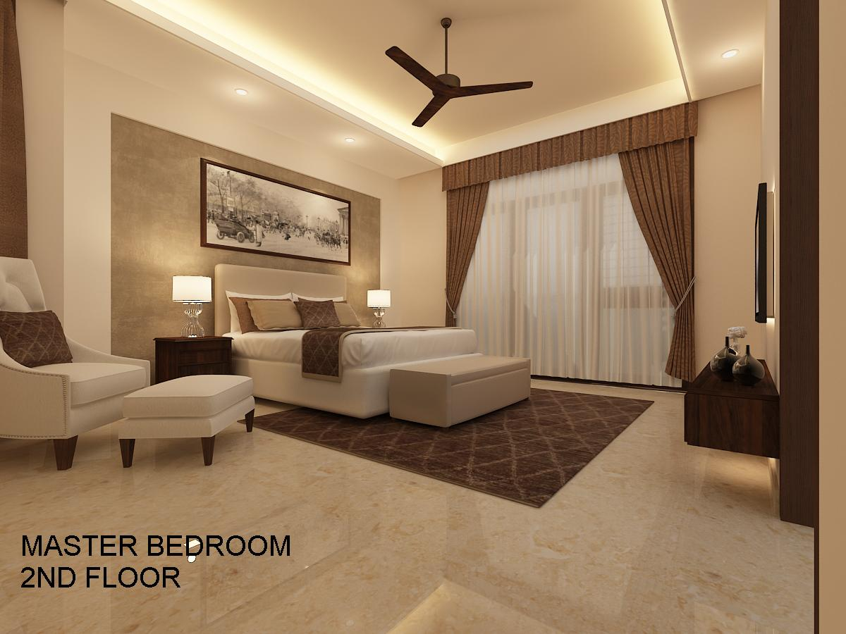 Bedroom With White Lounge Chair by Varsha S Rao Bedroom Contemporary | Interior Design Photos & Ideas