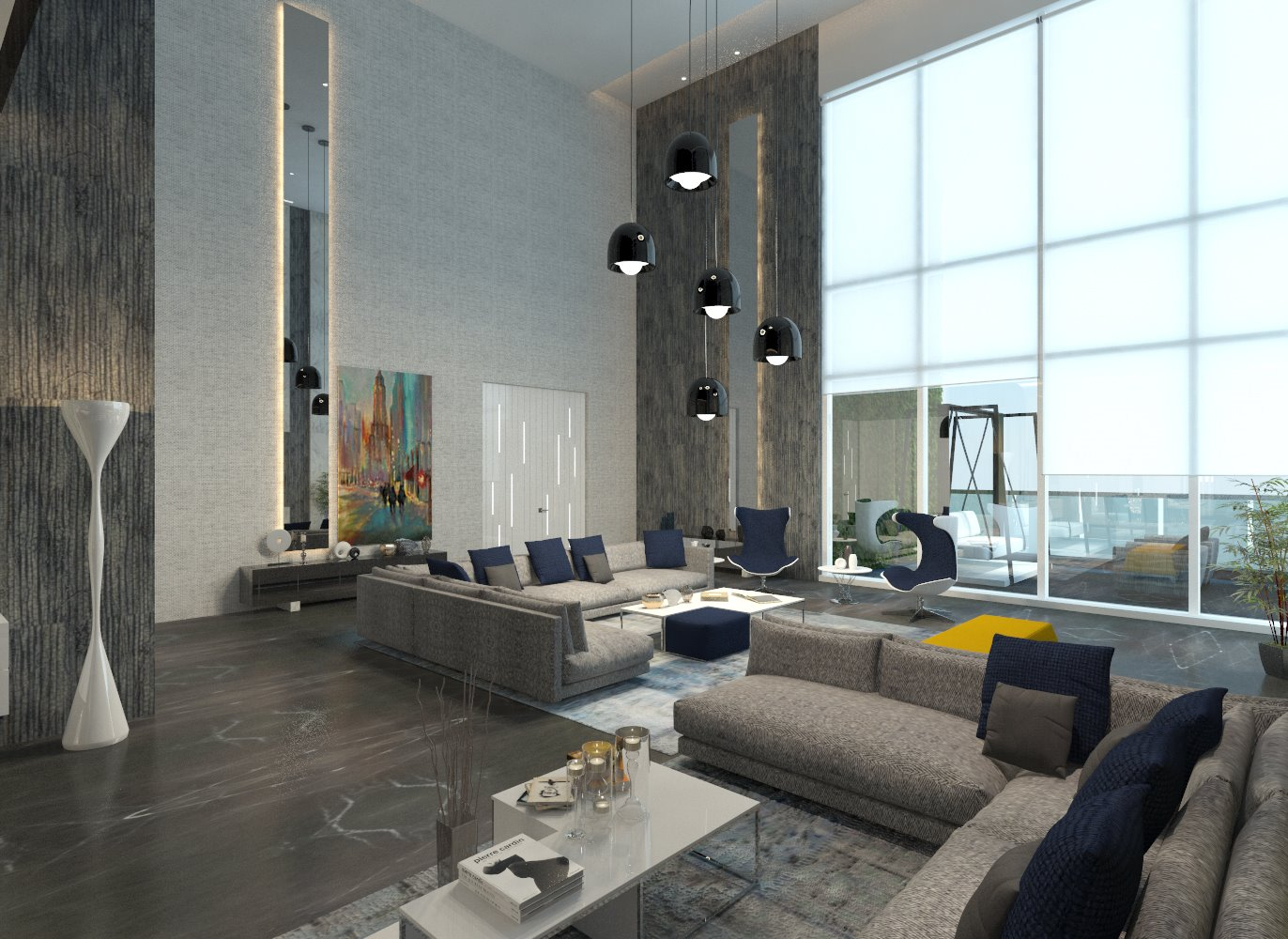 Plush living room with L shaped grey couch , hanging black lamps, see-through stationery windows and white and grey theme by Jui Maniar Living-room Contemporary | Interior Design Photos & Ideas