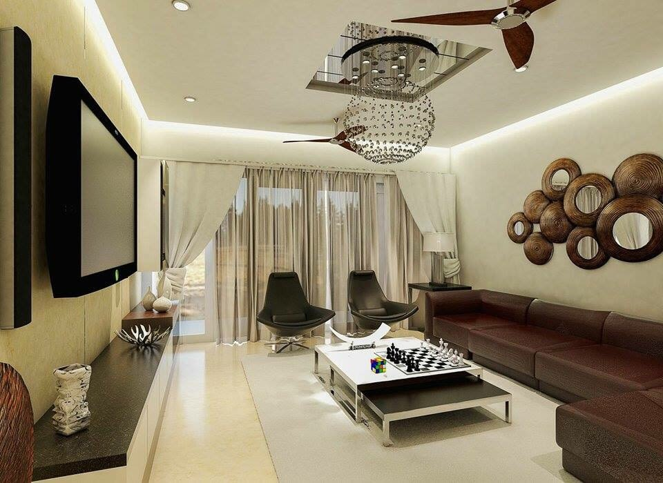 Living Room With Dark Brown Sectional Sofa by Roopan  Living-room Contemporary | Interior Design Photos & Ideas