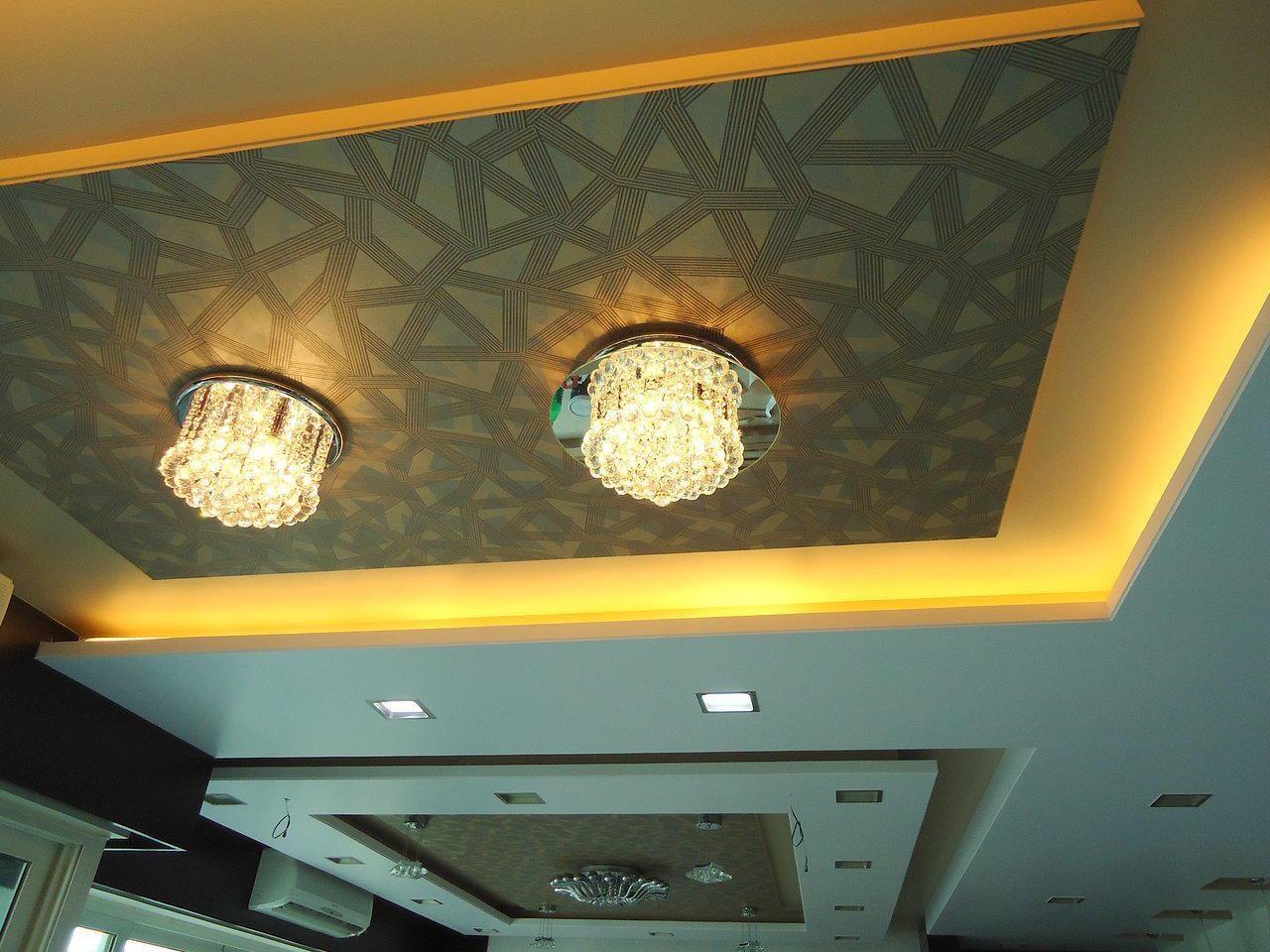 False Ceiling With Chandelier by Shishu Yadava Living-room Contemporary | Interior Design Photos & Ideas