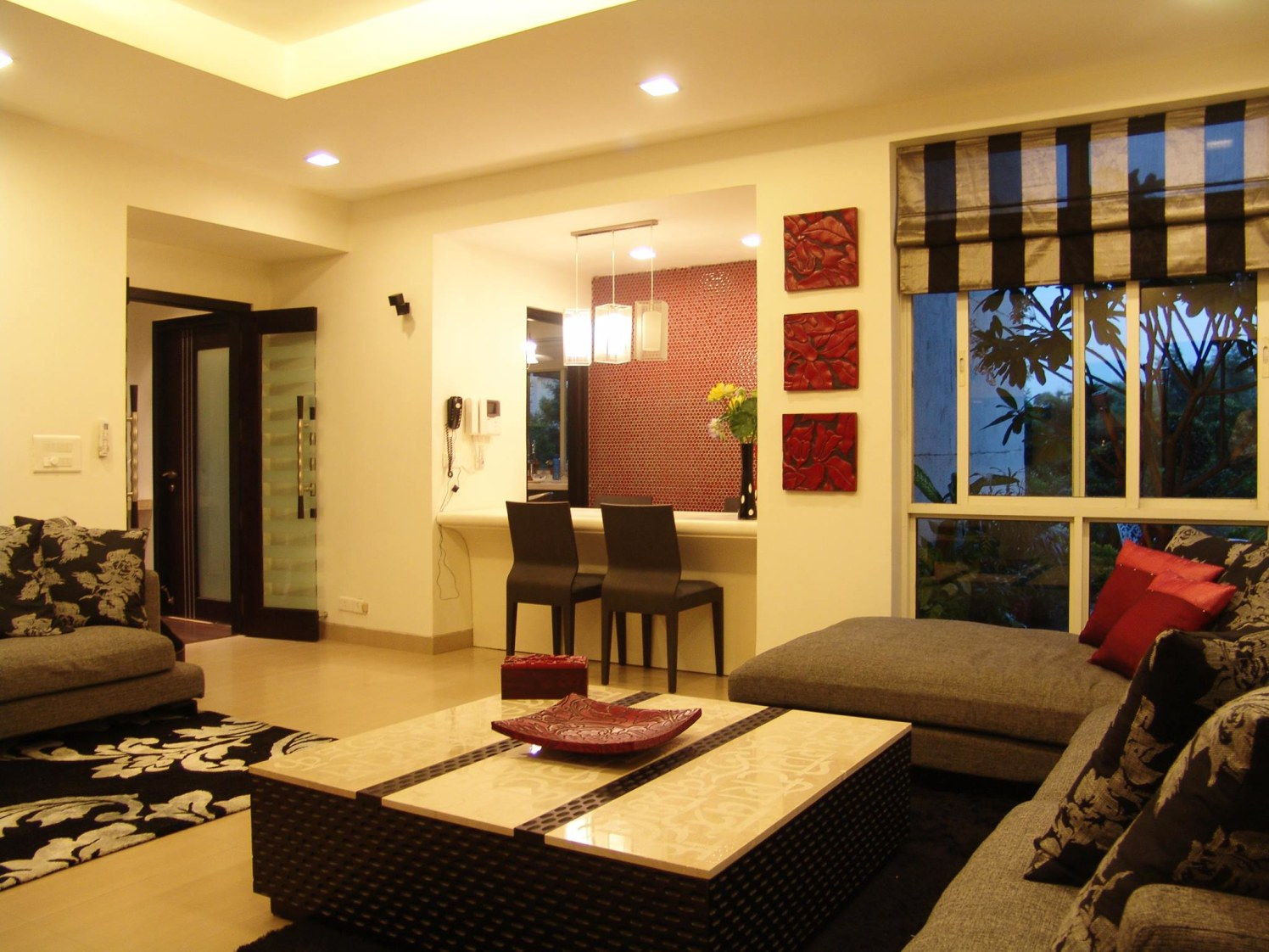 Buff Shaded Living Room With Outdoor View by Shishu Yadava Living-room Contemporary | Interior Design Photos & Ideas