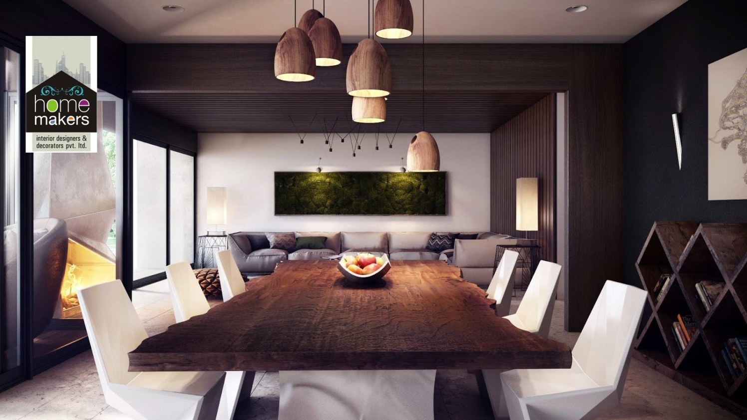 Cherry Wood And Black Dining Room With White Chair by Shishu Yadava Dining-room Modern | Interior Design Photos & Ideas