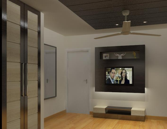 Wooden TV Unit by Spaces Talk Architecture Living-room Modern | Interior Design Photos & Ideas