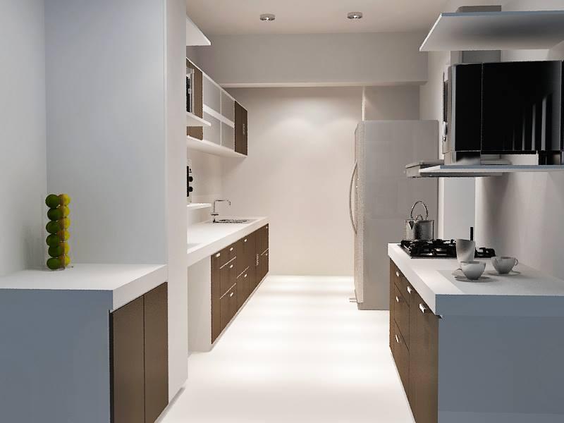 Parallel Modular Kitchen With Wooden Cabinets by Krupa Bhansali Sanghavi Modular-kitchen Contemporary   Interior Design Photos & Ideas