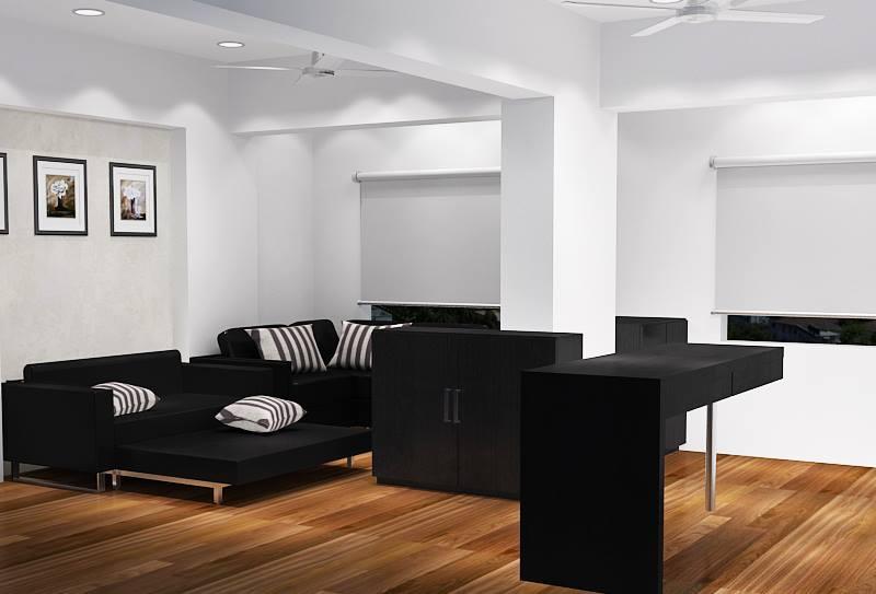 Living Room With Black Sofa Set And Wooden Flooring by Krupa Bhansali Sanghavi Living-room Contemporary   Interior Design Photos & Ideas