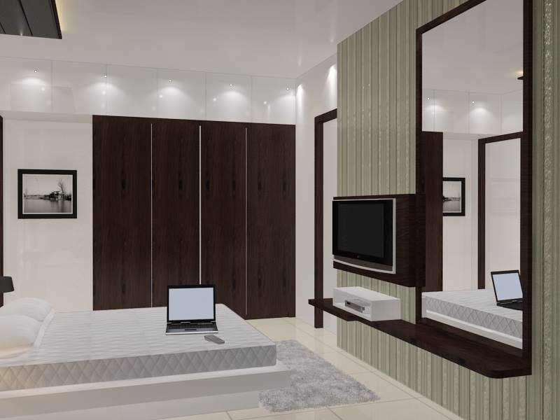 Bedroom With White Box Bed by Krupa Bhansali Sanghavi Bedroom Modern | Interior Design Photos & Ideas