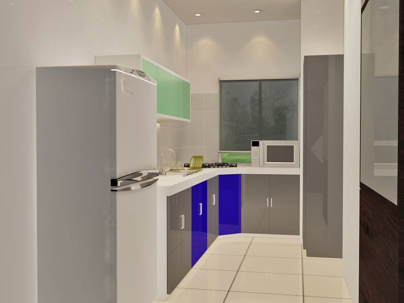 Kitchen With Tile Flooring And Grey Cabinets by Krupa Bhansali Sanghavi Modular-kitchen Minimalistic | Interior Design Photos & Ideas