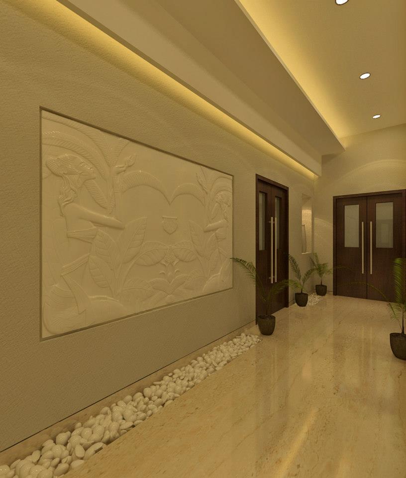 Hallway With Stone Pebbles Decor On Corner by Krupa Bhansali Sanghavi Contemporary | Interior Design Photos & Ideas