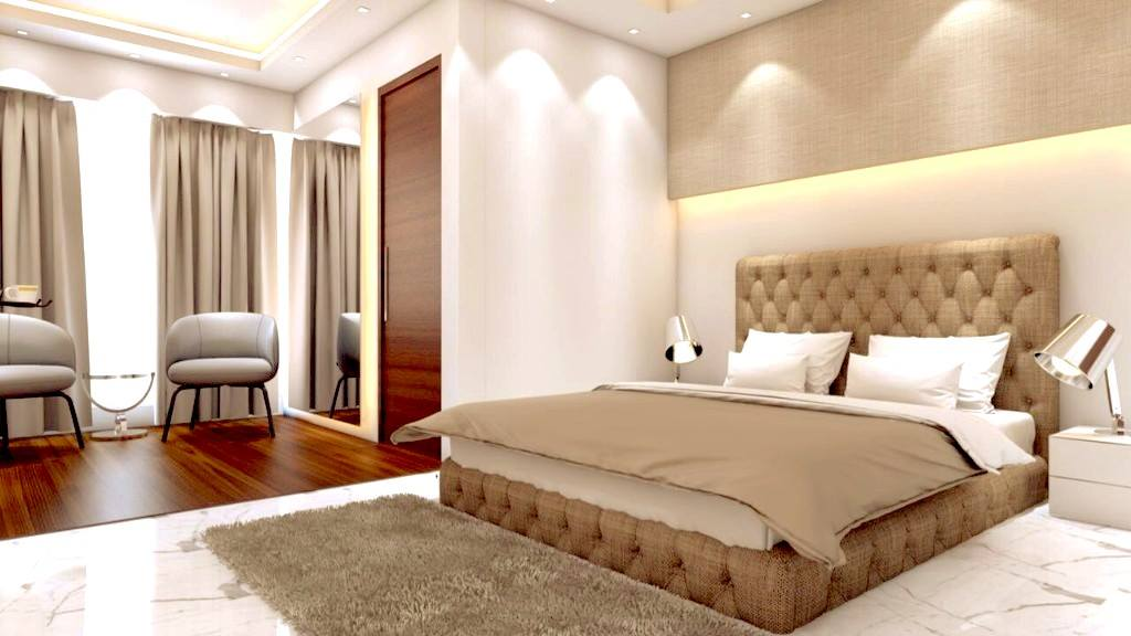 Bedroom With King Size Bed And False ceiling by Huzzpa Bedroom Modern | Interior Design Photos & Ideas