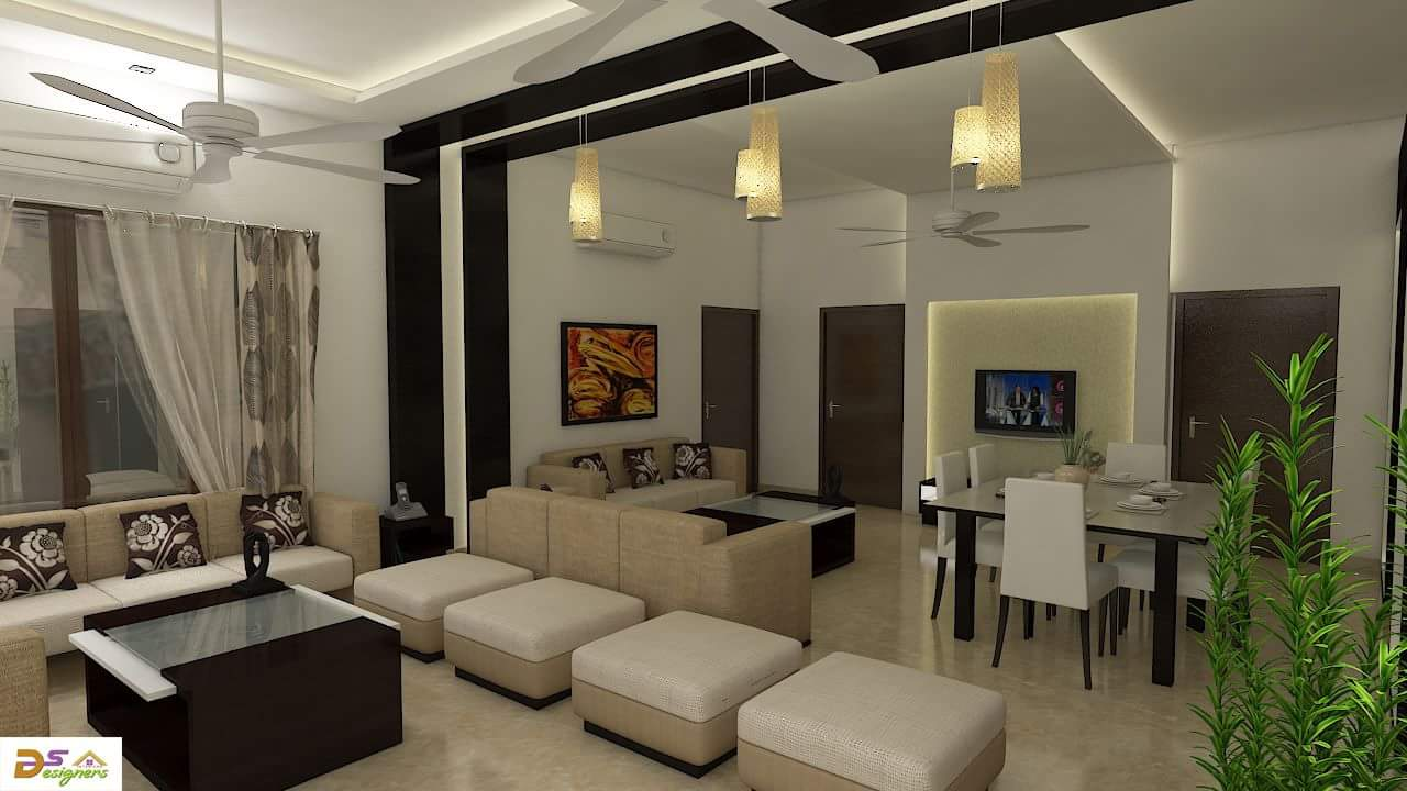 Living And Dining Area by Shivraj Singh Living-room Contemporary | Interior Design Photos & Ideas