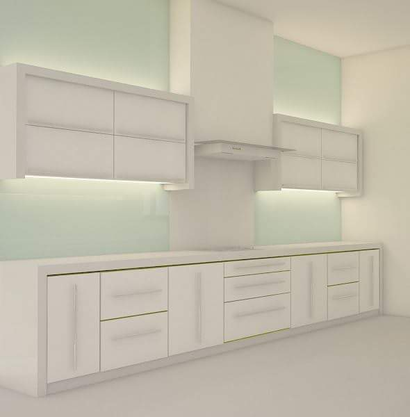 White Theme Mininmalistic Kitchen by Shivraj Singh Modular-kitchen Minimalistic | Interior Design Photos & Ideas